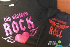 VIEW all of our BROTHER & SISTER DESIGNS here: https://www.etsy.com/shop/RiverImprints?section_id=12965652 Your kids will rock in this coordinating set -- BIG SISTERS ROCK tee and LITTLE BROTHERS ROLL bodysuit... OR, any combination of the wordings. AVAILABLE SHIRT COLORS -- white, black, apple green, charcoal gray