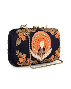 Navy Blue Clutch with Floral Motif - Karieshma Sarnaa - Designers