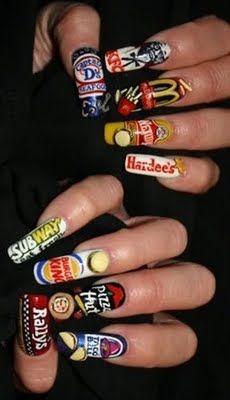 Unique Nail Art - Fast foods