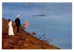 """la-belle-epoche: """" Hugo Simberg (Finnish, 1873 - 1917) July Moonlight on Vyborg Bay, 1903 Oil on canvas Private collection """""""