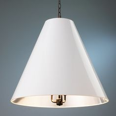 Oversized Cone Paper Shade Pendant white_and_silver_and_bronze