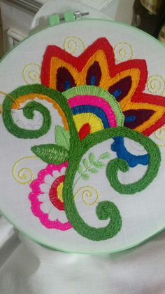 Folk flower embroidery