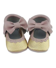 This first steps Gold & Pink Sweet Mary Jane Leather Moccasin by first steps is perfect! #zulilyfinds
