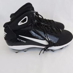 New Nike Flywire Football Cleats 13.5 Black White Men s Shoes 23ad8fd9a
