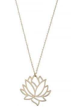A Dainty 14K Gold Lotus Pendant Necklace http://fancytemplestore.com