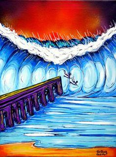 Jax Beach Surf Art 18x24 Original Surf Art Painting
