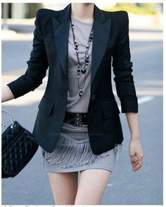 Stylish Lapel Collar One Button Design Shoulder Padded Long Sleeves Women's Black BlazerBlazer | RoseGal.com