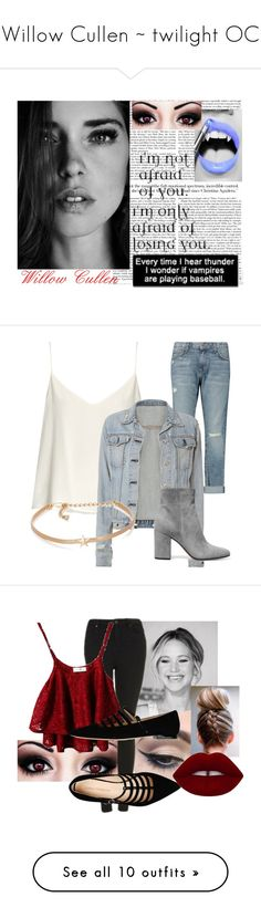 """Willow Cullen ~ twilight OC"" by lozzydutton01 ❤ liked on Polyvore featuring cute, twilight, outfits, OC, female, Raey, Current/Elliott, rag & bone, Kenneth Jay Lane and Gianvito Rossi"