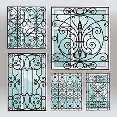 Set of iron window latticies Royalty Free Vector Image , Metal Gates, Wrought Iron Fences, Iron Gates, Iron Windows, Iron Doors, Window Security Bars, Burglar Bars, Gates And Railings, Glamour Decor
