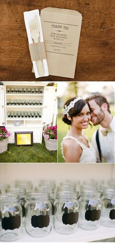 Mason jars as the wedding favor :) I'm super obsessed with mason jars, this is a perfect idea