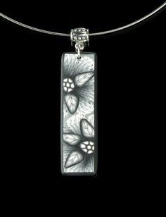 Black and White Polymer Clay Floral Pendant Necklace - Polymer Clay Jewelry - Art Jewelry - Still Life II