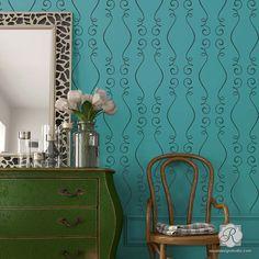 Large Designer Wallpaper Wall Stencils with French Ribbon Pattern - Gigi Scroll Modern Wall Stencils - Royal Design Studio