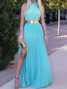 Blue Pleated Halter Maxi Dress With High Slit