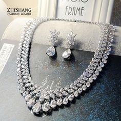 Women Elegant Luxury White Gold Plated African Jewelry Set Water Drop Cubic Zircon Earrings Necklace Wedding Jewelry Sets WS025