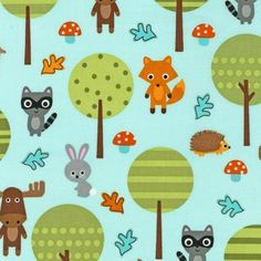 Woodland Pals Main in Bermuda by Ann Kelle for Robert Kaufman Fabrics forest animals on cotton novelty fabric Forest Animals, Woodland Animals, Woodland Nursery, Strawberry Patch, Robert Kaufman, Woodland Creatures, Modern Fabric, Couture, Sewing Projects