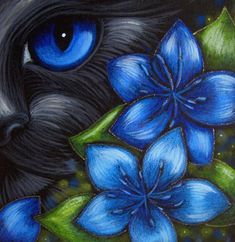 Cyra R. Cancel  | ... CAT - FENNEL FLOWERS' from Exhibit Entries by artist Cyra R. Cancel #CyraCancelArt #Cyra #Art