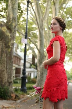This new SheIn Red Cap Sleeve Crochet Lace Zipper Dress is perfect for a night on the town!
