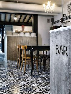 peppermags: Interior | Kook restaurant by noses architects, love the tile flooring and concrete bar