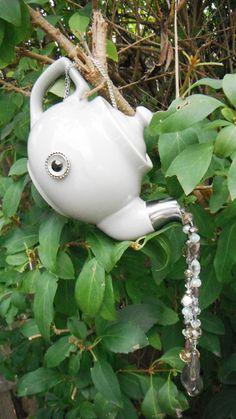 Hanging Tea Pot Ornament Tea Pot Garden Whimsy Gray by mscenna