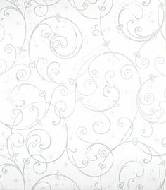Perfect Princess Scroll Wallpaper - White with Glitter