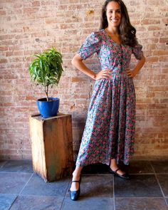 Vintage Laura Ashley Flower Day Dress 1980s by stateandmainvintage, $86.00