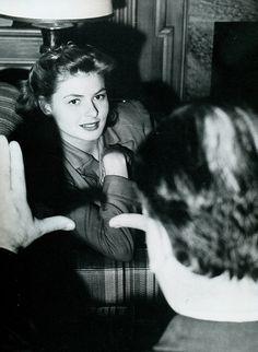Hitchcock frames Ingrid Bergman.