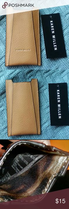 Karen Millen tan leather phone case for iPhone 5 New with one of tags, the other tag with price is missing. Karen Millen tan leather phone case for older models, like iPhone 4,5. 100% cow leather. Made in China. Can be used for cards. Karen Millen Accessories Phone Cases