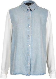 #Topshop MOTO Chiffon Sleeve #DenimShirt #denim #bluedenim #fashion