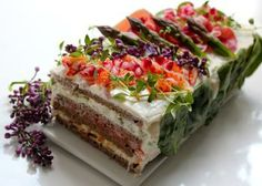 Post with 3 votes and 10005 views. Sandwich Cake, Tea Sandwiches, Savoury Cake, Food Art, Tea Time, Healthy Lifestyle, Special Occasion, Bakery, Good Food
