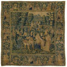 Scène galante. Tapisserie des Flandres XVIème siècle.