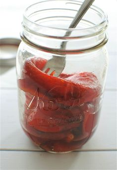 Homemade Roasted Red Peppers / Bev Cooks