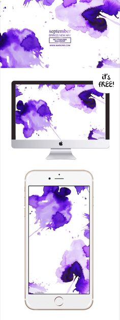 Abstract watercolor painting FREE download for desktop wallpaper and iPhone wallpaper!    Splashes of vibrant purple paint drip-drop dramatically across the canvas, fading into lilac, lavender, and orchid. Abstract art by Mari Orr.