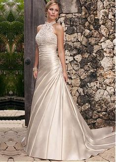 Glamorous Tulle & Satin High Collar Neckline Raised Waistline A-line Wedding Dress With Beaded Lace Appliques
