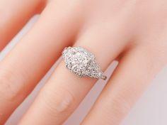 Antique Engagement Ring Art Deco GIA 1.06ct Old European Cut Diamond in Vintage Platinum. Minneapolis, MN.