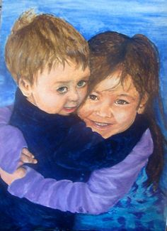 Custom portrait painting in watercolor by MomentsbyLorelei on Etsy, $150.00