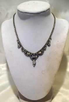 Rhinestone Tear Drop Vintage 1960s  Necklace SOLD