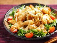 ∩・∀・)こんにちは~筋肉料理人です!鶏むね肉を使ったエビマヨ風料理レシピの紹... Seafood Recipes, Chicken Recipes, Cooking Recipes, Healthy Recipes, Japanese Chicken, Japanese Food, How To Cook Chicken, Fried Chicken, Potato Salad