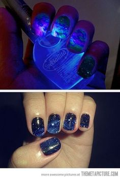 Glow in the dark galaxy nails!!!!! :D