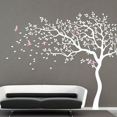 White Tree Wall Decal Nursery Wall Decal Baby Girl Wall Decals Kids Room  Wall Decor Nature Part 89