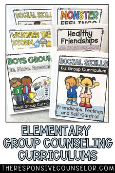 Start the year off prepared with my Elementary Group Counseling Curriculum Bundle! This resource comes with complete small group counseling curriculums, which covers topics such as: friendship, social skills, emotional identification, feelings, and more! Group Counseling, Counseling Activities, Activities For Kids, Small Groups, Boy Groups, No More Drama, Responsive Classroom, Dealing With Stress, Adhd Kids