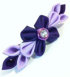 Kanzashi fabric flower purple hair clip by RoseGirlAccessories