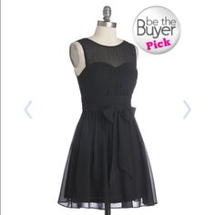 Belted Little Black Dress Never worn! This dress is so adorable, multiple layers, sweetheart neckline and sheer straps. ModCloth Dresses Mini