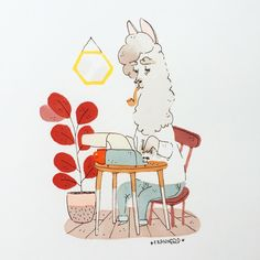 """Hi guuuys! Today's animal is """"a llama typing a letter on a typewriter"""" thank you patrons for the suggestion! #franuary ☕️ What is this? During January I decided to draw one animal every day. Why? Because I noticed I never draw animals and I want to get better at drawing them. So this is me practicing and also sharing the process with you guys! ☕️❤️ Have a lovely Mondaaay!"""