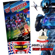 Power Rangers Ticket Invitation  Power Rangers Printable
