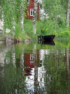Birch, red house, boat AND yellow flowers Swedish Cottage, Red Cottage, Lake Cottage, Finland Summer, Beautiful Places, Beautiful Pictures, Summer Scenes, Summer Dream, Countryside