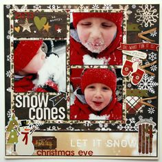 """Snow Cones"" - Scrapbook.com - Made with the Simple Stories Cozy Christmas collection."