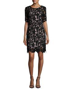 """<ul> <li>A beautiful lace dress in a flattering sheath silhouette</li>  <li>Jewel-neck</li>  <li>Sheer short sleeves</li>  <li>Back keyhole</li>  <li>Concealed back-zip</li>  <li>Lined</li>  <li>About 38"""" from shoulder to hem</li>  <li>Polyester</li>  <li>Hand wash</li>  <li>Imported</li>  <li>This item will arrive with a tag attached and instructions for removal. Once tag is removed, this item cannot be returned.</li>   </ul>"""