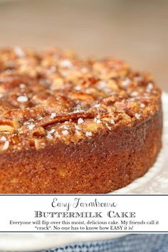 """Everyone will turn this moist, delicious buttermilk cake over. My friends called it """"crack. Everyone will turn this moist, delicious buttermilk cake over. My friends called it """"crack. Gourmet Recipes, Dessert Recipes, Desserts, Pancake Recipes, Amish Recipes, Dutch Recipes, Sauce Recipes, Buttermilk Recipes, Buttermilk Coffee Cake"""