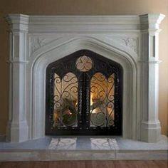 Gothic stone fireplace