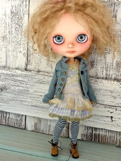 Blythe doll outfit OOAK Ocean view Grungychic dress by Marinart